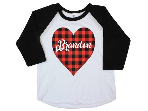 Boy Valentine Shirt Onesie Buffalo Plaid Heart Shirt Valentine's Day Boy Shirt Boy Baby Onesie Boy Bodysuit Boy Raglan Personalized Boy