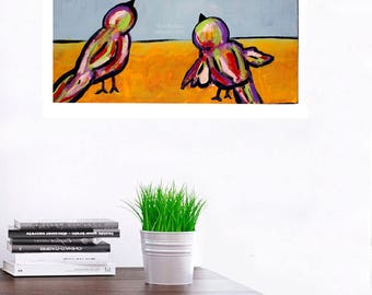 Two Birds Watching the Sky, Colorful Birds, Bird Painting, Original Art, Original Painting, Whimsical Art, Winjimir, Home, Decor, Gift,