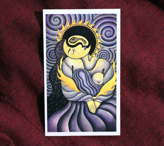 Tarot art sticker the moon tarot card picasso the dream painting fine art sticker psychedelic art vinyl sticker