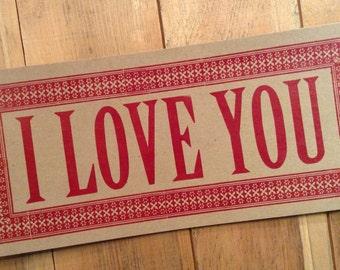 letterpress sign I LOVE YOU poster Red sweet valentine heart kitchen sign decor art print