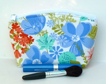 Sale - Floral - Makeup Bag - Zippered Pouch - Round Top - Ready to Ship