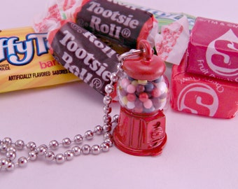 Itty Bitty Gumball Machine Necklace with 18 Inch Ballchain Kawaii Kitsch