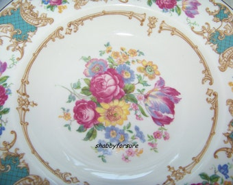 """Old Ivory Romance - Maroon - Flowers 8 3/4""""  2 Wide Rim Soup Bowls by Syracuse China"""