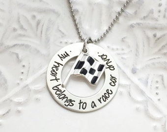 My Heart Belongs To A Race Car Driver Stamped  Custom Necklace- Hand Stamped Jewelry - Personalized Jewelry - Engraved Jewelry