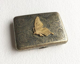 smokers gift, smokers accessories, metal cigarette case, joint case, weed, smoking case, marijuana, weed,cannabis,women bronze BUTTERFLY