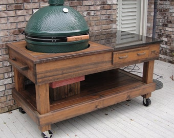 Tables Cypress With Drawer With Cut Out Option For Green Egg And Kamado Joe  Grills (