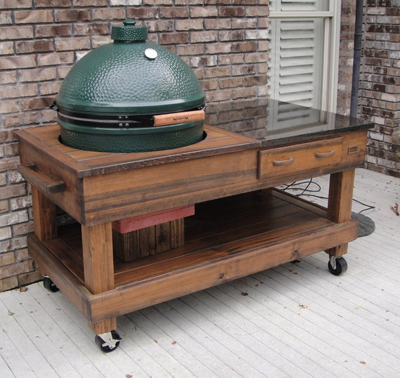 Tables Cypress With Drawer With Cut Out Option For Green Egg