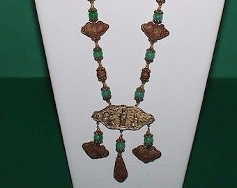 Vintage Cinnabar Necklace With Beads & Pictoral Chinese Tablets Of Ladies