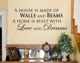 Family Wall Quotes - A house is made of wall and beams - vinyl wall words decal - love and dreams - family room decor - housewarming gift