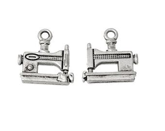 SET of 3 charm machine sewing seamstress sewing Silver (A15)