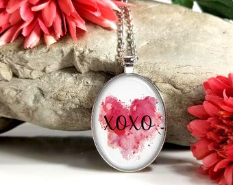XOXO-Red Watercolor Heart-Large Oval- Glass Bubble Pendant Necklace
