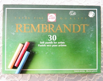 Rembrandt Soft Pastels - box of 30 full sticks of soft pastels; Talens; Variety of colors Red, yellow, green, blue, brown, black, flesh tone