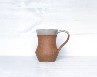 Red-Brown Dipped Mug - 8 oz handmade ceramic mug