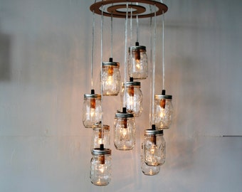 Mason Jar Chandelier, Rustic Hanging Pendant Lighting Fixture, 11 Clear Jars Cluster, Modern BootsNGus Lighting & Home Decor, Bulbs Included