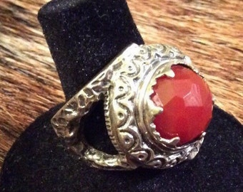 Sale-Exotic Signed Artisan Crafted Carnelian, Made in Israel Ring  7 3/4 (Sale Was 42.00)
