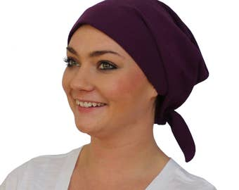 Gabrielle Pre-Tied Head Scarf -Women's Cancer Headwear, Chemo Scarf, Alopecia Hat, Head Wrap,  Head Cover for Hair Loss - Plum