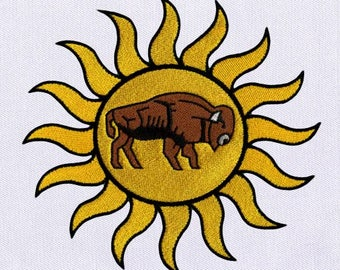 Pulsating Sun and Ox Digital Embroidery Design