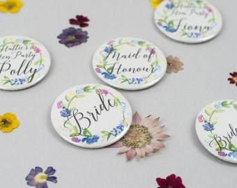 Personalised Floral Wreath Hen Party Badges - Vintage Style Hen Party Accessories - Bachelorette Hen Do Bridal Shower