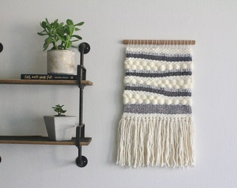Gray and Ivory Chunky Wall Hanging // Wall Tapestry