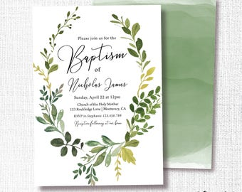 Baptism Invitation, Prints, Greenery Wreath Invite, Natural, Simple, Modern, Watercolor, 1st Communion, Greenery, Christening, Naming
