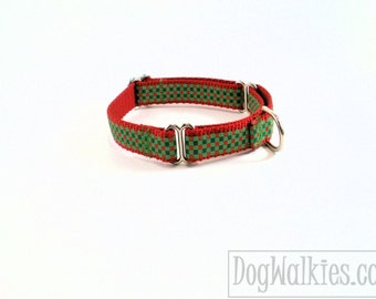 """Red and Green Gingham Christmas Dog Collar - 3/4"""" (19mm) Wide - Choice of style and size - Martingale Dog Collars or Quick Release Buckle"""