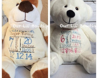 Personalized Stuffed Animal - Subway Art Baby Gift - Personalized Cubbie - Birth Announcement - New Baby - Personalized Baby Gift