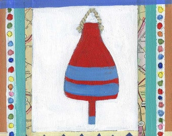 Red and Blue Buoy PRINT of an Original Mixed Media Painting