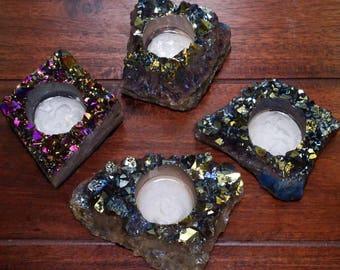 Aura Cluster Candle Holder - Mystic Blue Titanium Crystal Decor - Metaphysical - Chakra Crystals (RK30-71)