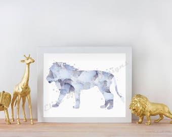 Blue Splatter Watercolor Lion Nursery Print