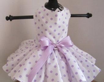 Dog Dress  Lavender polkadots