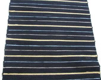 Thin-striped rug, Black-blue-yellow rug