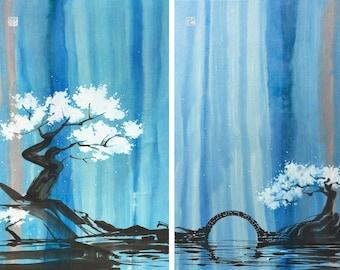 Chinese Painting, Waterfall, Night, Ink Painting, Original artwork.