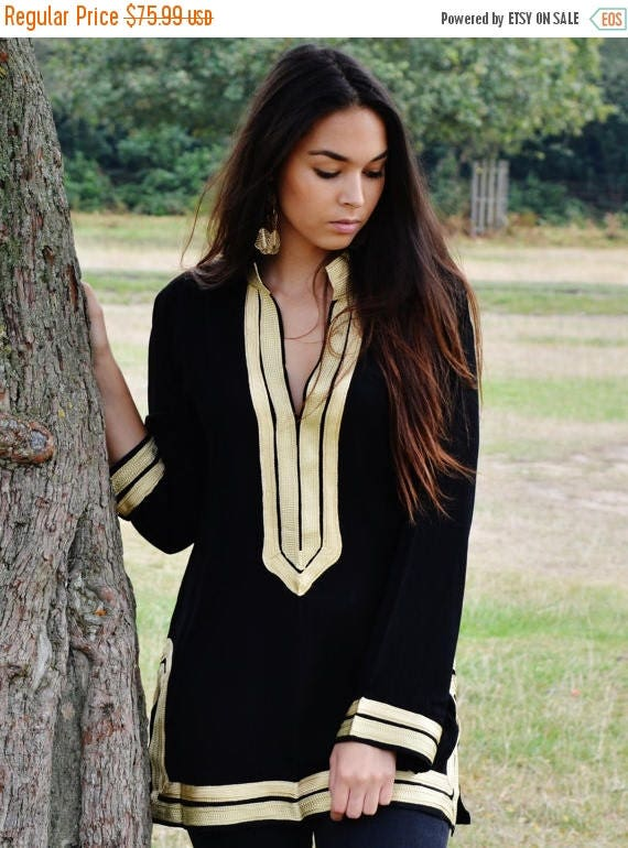 KAFTAN 20% SALE/ Trendy Black Tunic with Golden Embroidery Mariam- perfect for resort wear, boho wear, as birthday gifts, black boho tunic