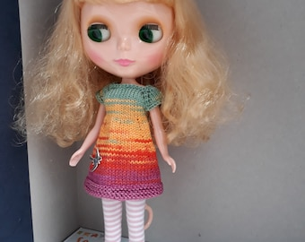 Knitted dress for Blythe doll.