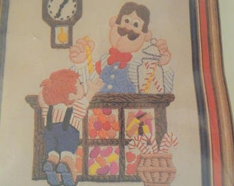 Vintage Stitchkins  Crewel Kit Sweet Shop Nostalgia  FREE Shipping USA
