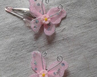 two pink organza butterflies hair clips