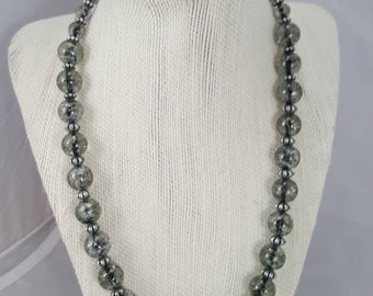 Glass pearl necklace with matching bracelet and earrings