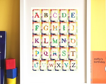 Alphabet Print- ABC Poster- Children's alphabet- Educational print- Nursery art- Children's bedroom print- Playroom print.