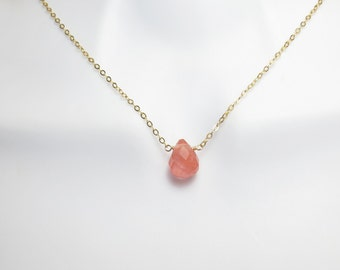 Misty, Rose, Pink, Stone, Gold filled, Sterling silver, Chain, Necklace, Lovers, Friends, Mom, Sister, Gift