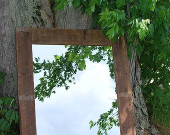 Mirror reclaimed barn wood and rustic/wood/reclaimed barnwood mirror/wood framed mirror/large wood mirror