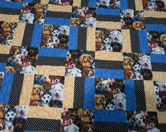 Doggy lap or twin bed quilt extra long handmade 89 x 55