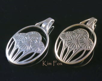 Oval Pendant in Silver or Golden Bronze symbolizing love through a bouquet of flowers based on Victorian Era Craftsman Wall Paper by Kim Fox