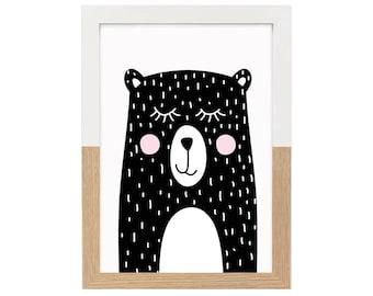 Nursery Print Sleepy Bear   Nursery decor, Monochrome nursery, Black and white print, Animal, Illustration print, Wall art, Home Decor