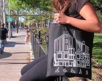 San Francisco Cityscape Tote Bag (Hand Drawn Illustration & Screenprint)