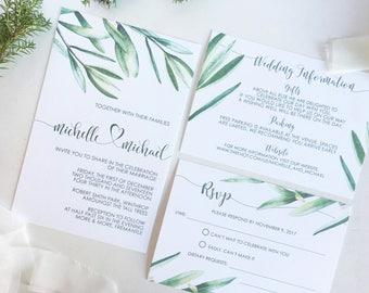 Printable Wedding Invitation Suite, Vineyard Wedding Invitation, Tropical Wedding invitation, Printable Wedding Invitation Set, PDF Template
