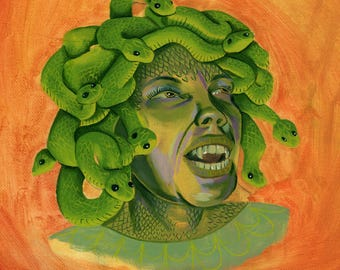 Gorgon - Medusa Greek Mythology Illustration Art Print