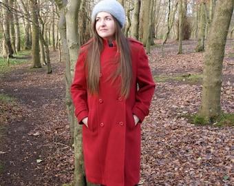 Vintage 60's Red Wool Eastex Winter Coat Retro