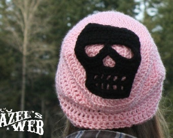 Pastel Pink Slouchy Skull Beanie