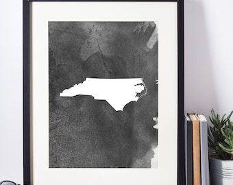 North Carolina Black and White Art Print,   Digital Download, North Carolina Wall Decor, Modern Art