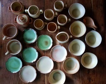 Frankoma Pottery 26 Piece Plainsman Dining Set Frankoma Pottery Vintage Stoneware Dining Set & Frankoma pottery | Etsy